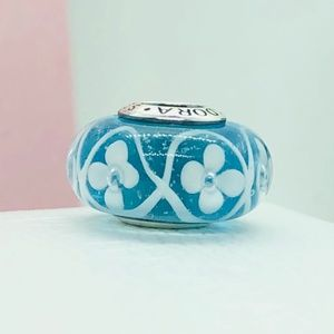 PANDORA Blue Field of Flowers Murano Bead, New!